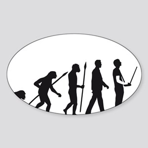 evolution of man with model helicop Sticker (Oval)