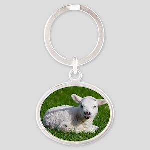 Baby lamb Oval Keychain