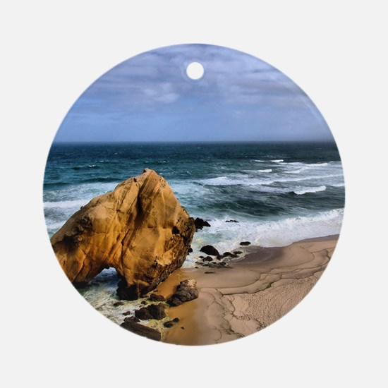 Santa Cruz Beach in Portugal Round Ornament