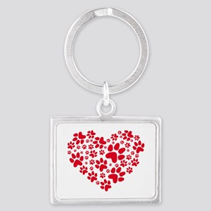 red heart with paws, animal foo Landscape Keychain
