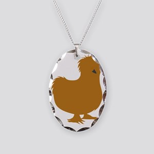 Silkie Chicken (buff) Necklace Oval Charm