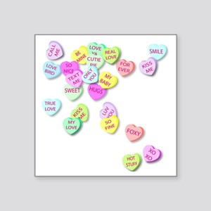 "Conversation Hearts T Shirt Square Sticker 3"" x 3"""