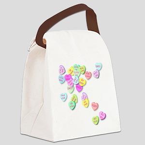 Conversation Hearts T Shirt Canvas Lunch Bag