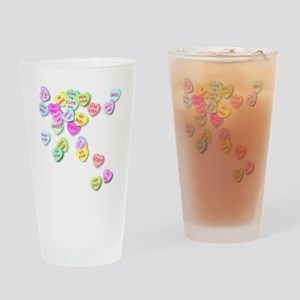 Conversation Hearts T Shirt Drinking Glass