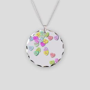 Conversation Hearts T Shirt Necklace Circle Charm