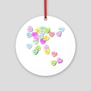 Conversation Hearts T Shirt Round Ornament