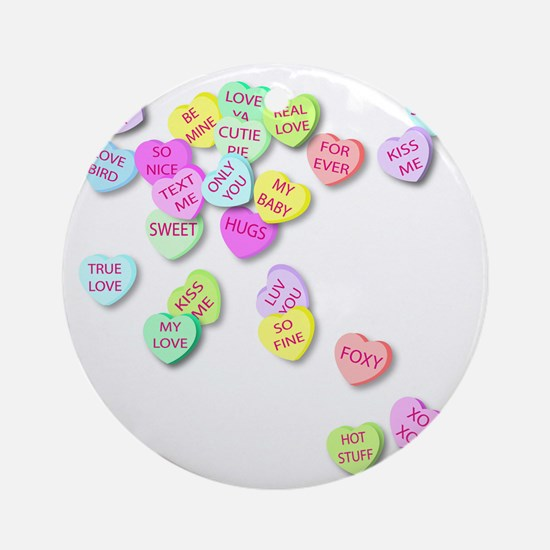 Conversation Hearts T Shirt Round Ornament
