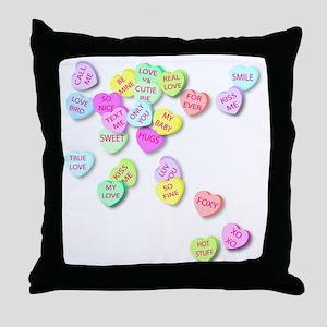 Conversation Hearts T Shirt Throw Pillow