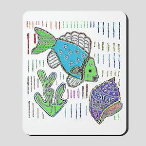 FISH AND SEASHELL MOLA DESIGN Mousepad