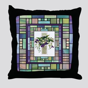 Stained Glass Cross Throw Pillow