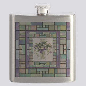 Stained Glass Cross Flask