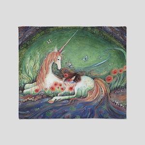 Unicorn and child fantasy art Throw Blanket