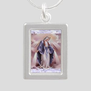 Ave Maria Silver Portrait Necklace