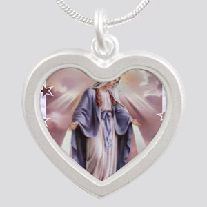 Ave Maria Silver Heart Necklace