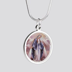 Ave Maria Silver Round Necklace