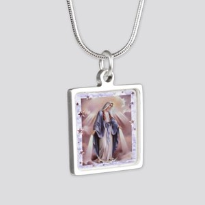 Ave Maria Silver Square Necklace