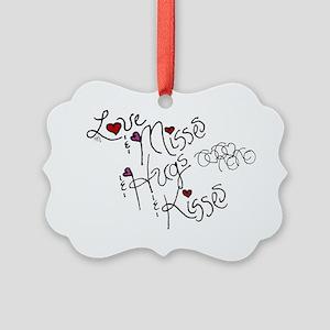 Love & Misses & Hugs & Kisses Picture Ornament