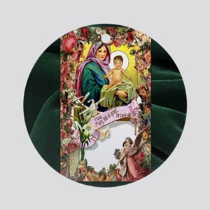 Floral Hail Mary Round Ornament