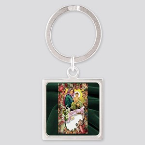 Floral Hail Mary Square Keychain