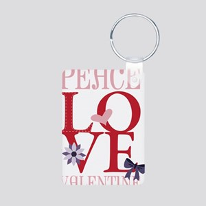 Peace Love Valentine Aluminum Photo Keychain