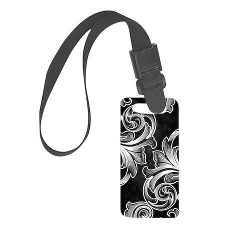 White/Black Victorian Small Luggage Tag