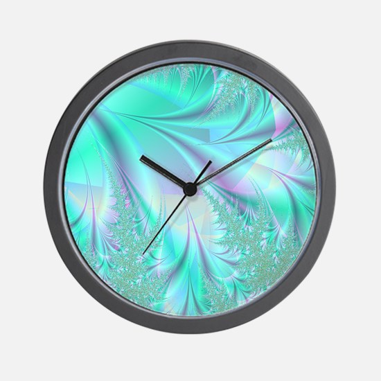 Aqua shower curtain Wall Clock