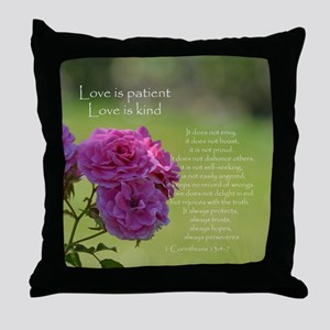 Love is Patient Roses Throw Pillow