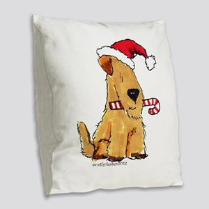 Wheaten Holiday Joy Burlap Throw Pillow