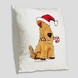 Wheaten Holiday Joy Burlap Throw Pillow
