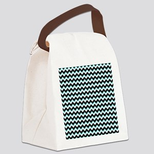 Blue and Black Chevron Canvas Lunch Bag
