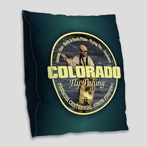 Colorado Fly Fishing Burlap Throw Pillow