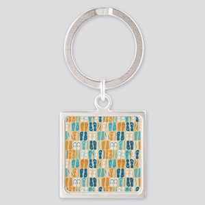 Flip Flops Square Keychain