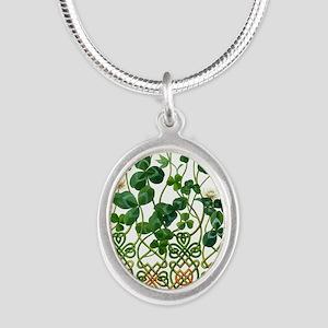 Celtic Shamrock Silver Oval Necklace
