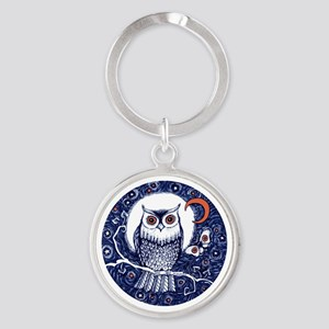 Blue Owl with Moon Round Keychain