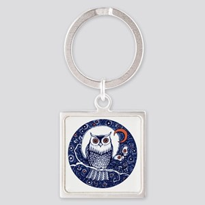 Blue Owl with Moon Square Keychain