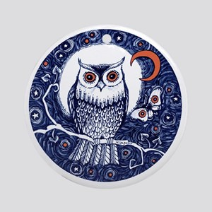 Blue Owl with Moon Round Ornament