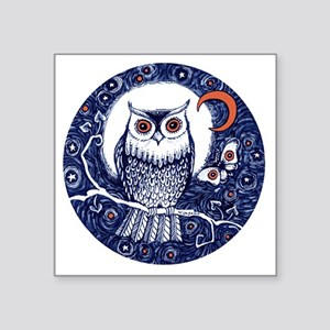 "Blue Owl with Moon Square Sticker 3"" x 3"""