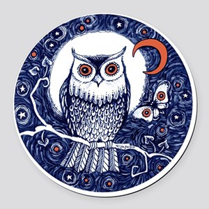 Blue Owl with Moon Round Car Magnet