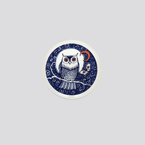 Blue Owl with Moon Mini Button
