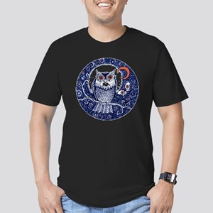 Blue Owl with Moon Men's Fitted T-Shirt (dark)