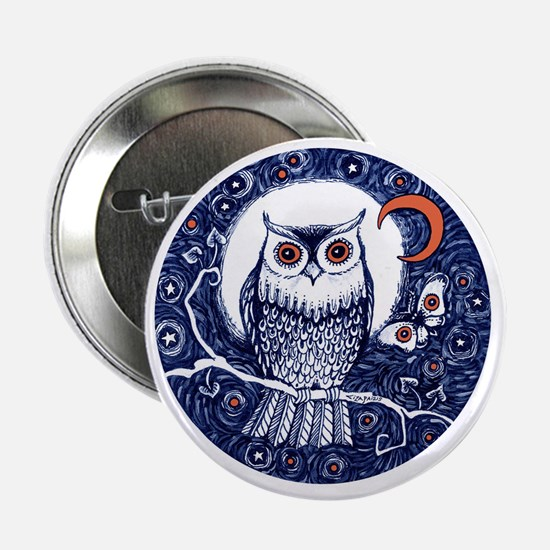 """Blue Owl with Moon 2.25"""" Button"""
