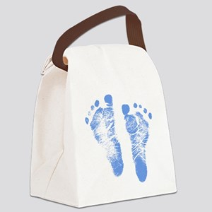 Baby Boy Footprints Canvas Lunch Bag