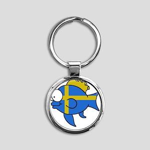 Swedish Fish Round Keychain