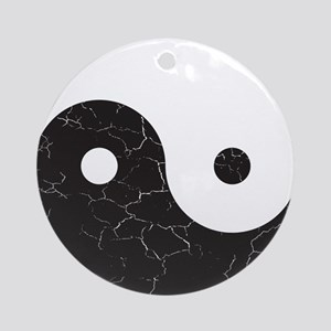Yin Yang Distressed Round Ornament