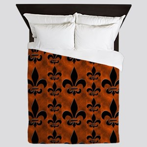 fleur de lis shower curtain rust Queen Duvet