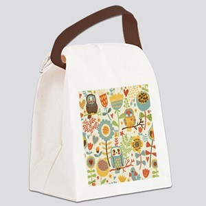 Flowers and Owls Canvas Lunch Bag