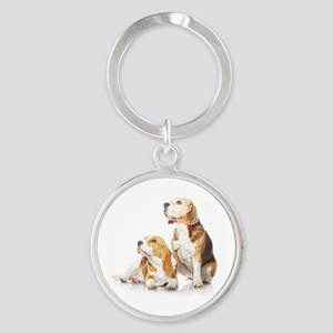 Two beagle dogs isolated on white b Round Keychain