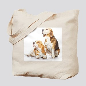 Two beagle dogs isolated on white backgro Tote Bag