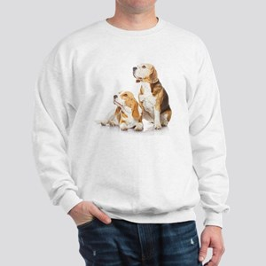 Two beagle dogs isolated on white backg Sweatshirt
