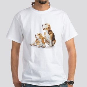 Two beagle dogs isolated on white White T-Shirt